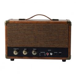GPO westwood bluetooth speaker in vintage brown front view with controls and aux in