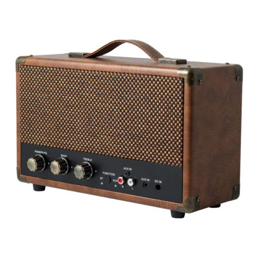 GPO westwood bluetooth speaker in vintage brown right angle view with controls and aux in