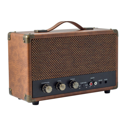 GPO westwood bluetooth speaker in vintage brown left angle view with controls and aux in