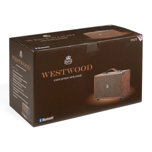 GPO westwood bluetooth speaker in vintage brown in a box