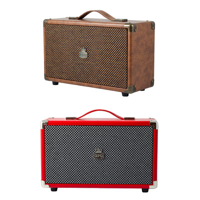 Brown and red westwood speakers