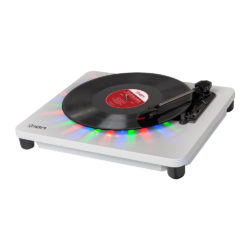 ION Audio Photon LP Turntable USB enabled sideview Open with Records playing