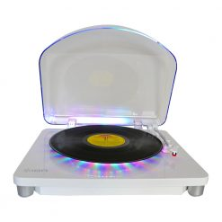 ION Audio Photon LP Turntable USB enabled front view open lid with records playing
