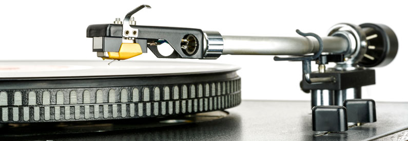 Tonearm of record player shown up close