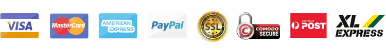 Mastercard Visa American Express Paypal Ssl Comodo Secure Australia Post and Express Couriers logos and icons