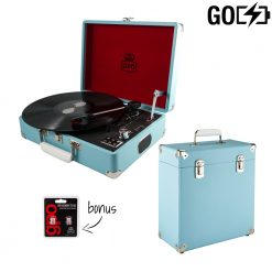 GPO attache GO 2 piece bundle with sky blue turntable and blue record case and needles