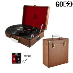 GPO Attache GO 2 Piece Bundle including vintage brown turntable and brown vinyl record case with stylus