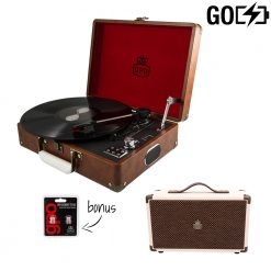 GPO Attache 2 Piece Bundle with Vintage Brown Attache Record player and Vintage Brown cream speaker and stylus