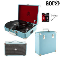 GPO Attache GO 3 piece bundle with sky blue attache GO record player, record case and blue westwood speaker