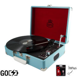 GPO attache GO record player in sky blue open with vinyl record playing