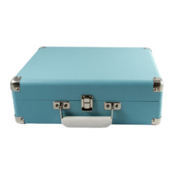 Closed sky blue attache GO briefcase style record player