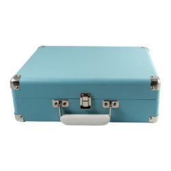 Closed sky blue attache GO briefcase style record player