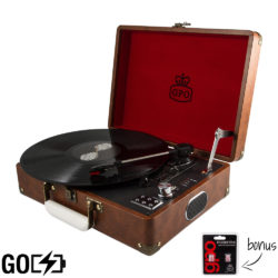 GPO Attache GO record player in vintage brown with case open and record playing