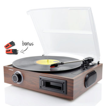 Front view of mbeat® USB Turntable and Cassette to Digital Recorder bonus stylus
