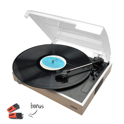 Wooden mbeat record player shown with lid open