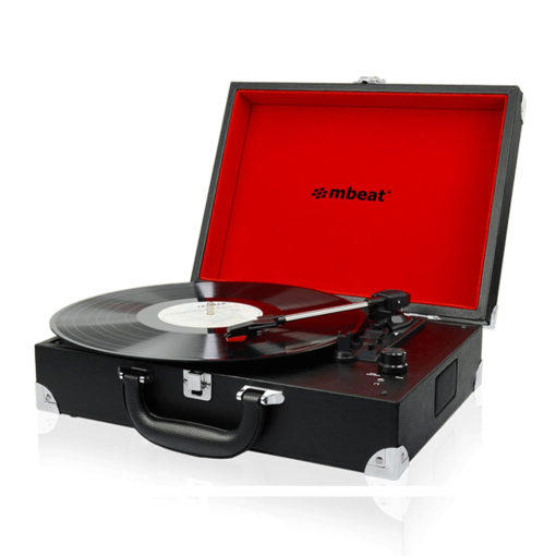 Front view of mbeat® Retro Briefcase-styled USB turntable recorder