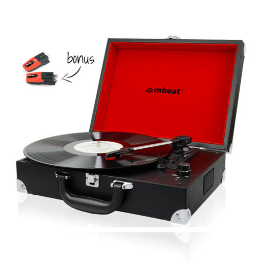 Front view of mbeat® Retro Briefcase-styled USB turntable recorder with bonus stylus