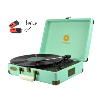 mBeat Woodstock record player tiffany blue angled view with bonus stylus