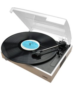 Wooden mbeat record player shown top down with lid open