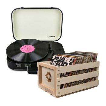 Crosley Coupe Turntable Black and Storage Crate Bundle