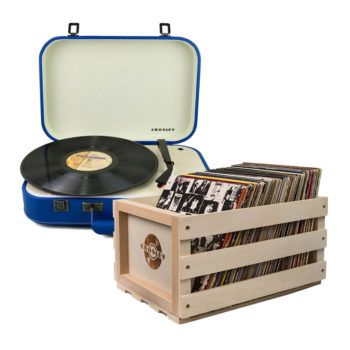 Crosley Coupe Turntable Blue and Storage Crate Bundle