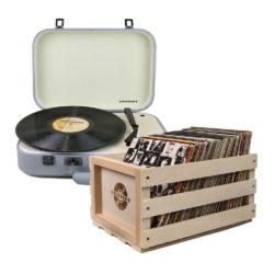 Crosley Coupe Turntable Grey and Storage Crate Bundle