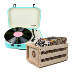 Crosley Coupe Turntable Teal and Storage Crate Bundle