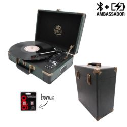 GPO Ambassador Case Bundle with black turntable and black record case