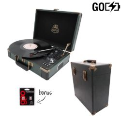 GPO Attache GO 2 Piece case bundle with black turntable and black record case