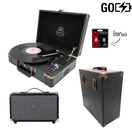 GPO Attache GO 3 Piece bundle with dark green Case with dark green turntable and dark green record case