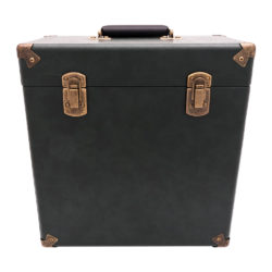 GPO vinyl record case royal green close front view with records inside