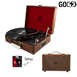 GPO Attache 2 Piece Bundle with Vintage Brown Attache Record player and Vintage Brown westwood speaker and needles