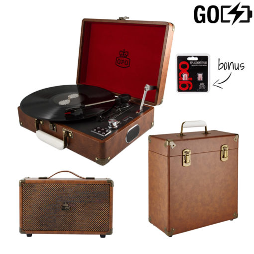 GPO Attache 3 piece bundle with vintage-brown Attache Record player, vinyl case and Vintage Brown westwood speaker and needles