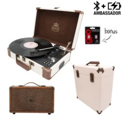 GPO ambassador 3 piece bundle with cream and brown turntable, cream record case and brown westwood speaker