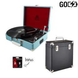GPO attache GO 2 piece bundle with sky blue turntable and black record case and needles