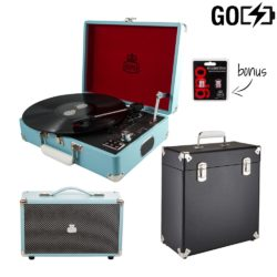 GPO Attache GO 3 piece bundle with sky blue attache GO record player, black record case and blue westwood speaker