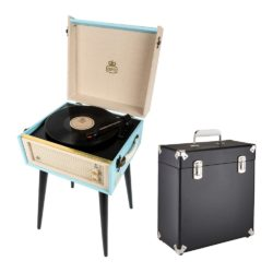 GPO Bermuda 2 Piece Bundle with Sky Blue Bermuda Record Player and Black Vinyl Case