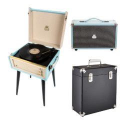 GPO Bermuda 3 Piece Bundle with Sky Blue Bermuda turntable and Black Vinyl Case and Sky Blue westwood speaker
