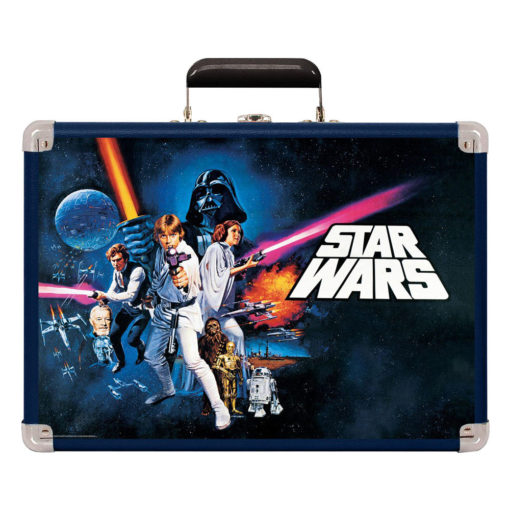 Front shot of Crosley Cruiser Turntable Star Wars Edition icon move poster on front of record player case