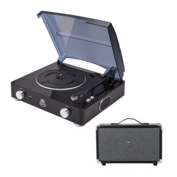 Black GPO Stylo record player with two front silver dials and a black GPO Westwood speaker from front on