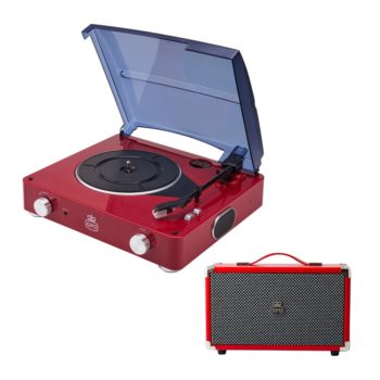 Red GPO Stylo record player with black tone arm and platter and a red GPO Westwood speaker with matching handle