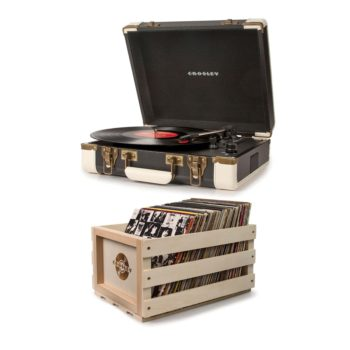 Crosley executive turntable record player pictured alongside a wooden crossly crate