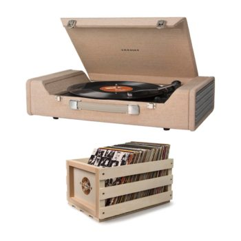 Wide Crosley Nomad turntable record player with beige fabric cover with a wooden record crate