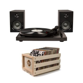 Black Crosley T100 turntable record player with matching speakers and a wooden crossly crate with albums in it