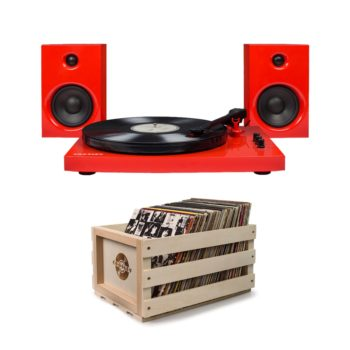 Bright red crosley t100 turntable record player with wooden crossly crate for storing records