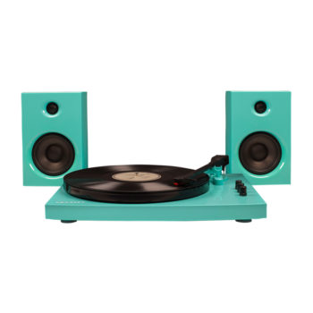 Front image of turquoise Crosley T100 turntable