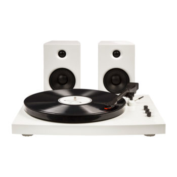 Second photo of white Crosley T100 turntable