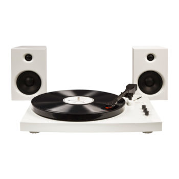 Front image of white Crosley T100 turntable