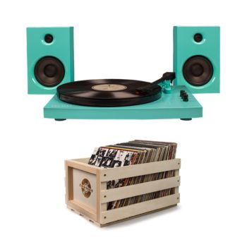 Turquoise T100 Crossly record player turntable with wooden crate
