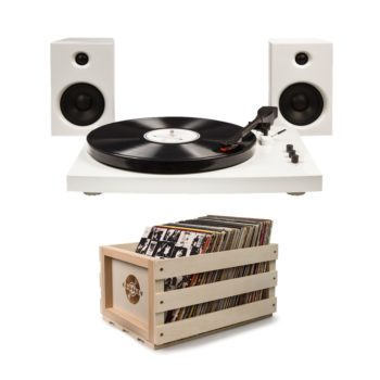 White Crosley T100 record player turntable with stacked wooden crosley crate